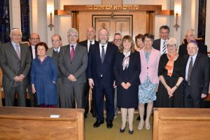 from right to left; Alan Korn, Adrian Possener, Michelle Paton, Rev. Malcolm Weisman, Nick Simons, Rev Daniel Rosenthal, CR Mirvis, Clive Roffe, Marian Prinsley, Poppy Simons, Fay cadywould, Peter Prinsley, Maureen Leveton, Simon Goodman and Barry Leveton